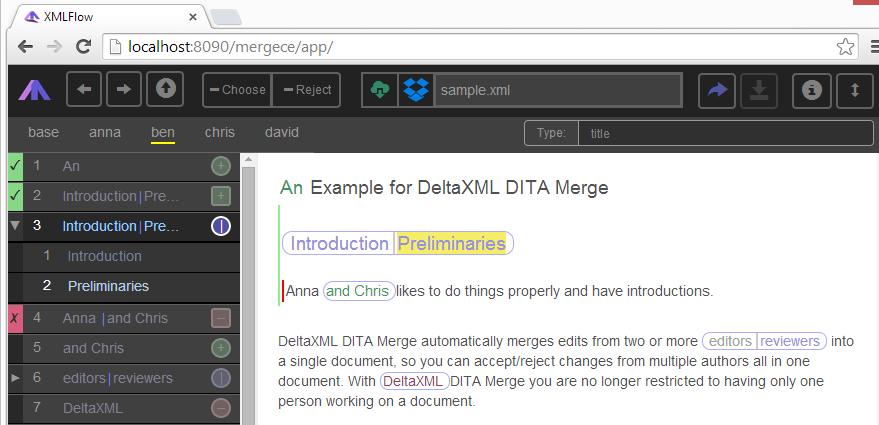 Screenshot of XMLFlow application