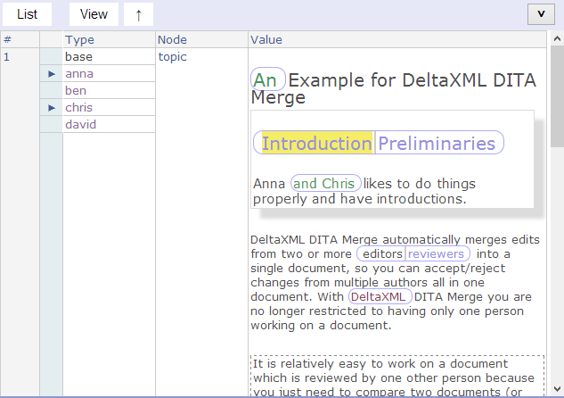 DITA topic with conflicting text-part selected
