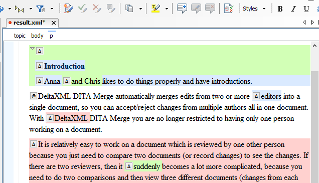 The demo-plugin enhanced oXygen Authoring Tool with collated DITA document loaded.