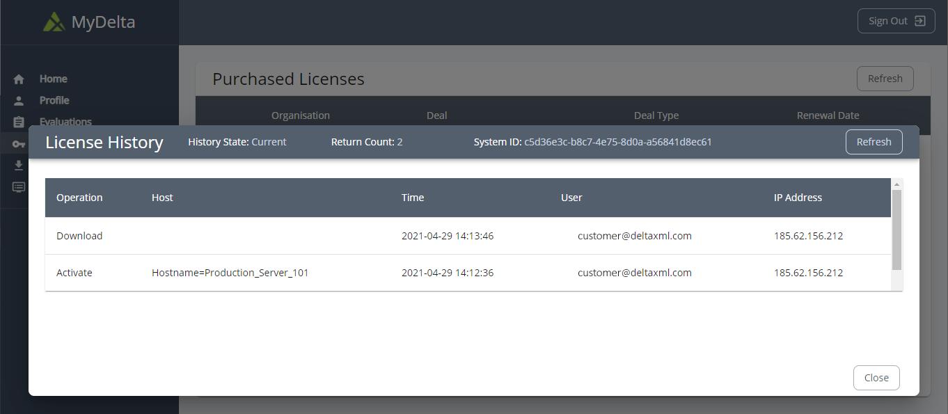 MyDelta Licenses History
