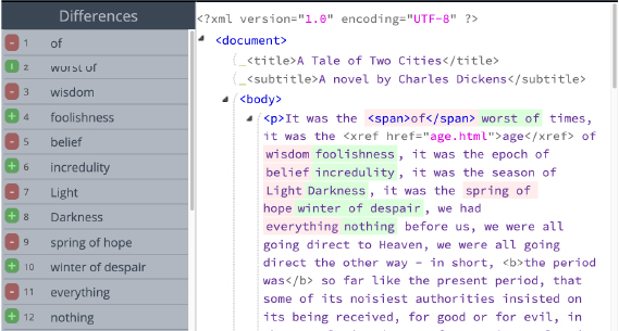 XML Compare Inline Results