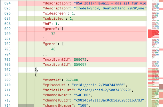 JSON comparison screenshot with changes highlighted